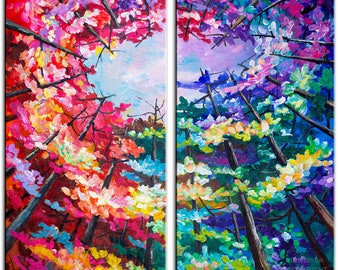 Original Landscape painting Forest skyline Art multi colors on gallery wrap canvas Ready to hang by tim Lam 48x48