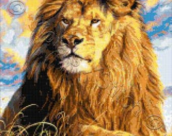 Watchful eyes - lion counted cross stitch kit