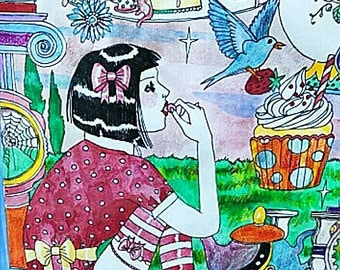 Victorian, tea party, Gothic Lolita, watercolor, pen and ink, original, illustration, Meat Cake, comix, Dame Darcy