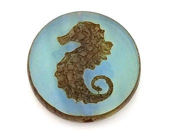 Blue Seahorse Czech Glass Bead 23mm Milky Picasso Pendant Coin (H6041)