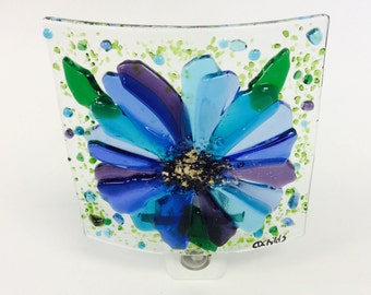 Fused Glass Turquoise Blue Flower Night Light