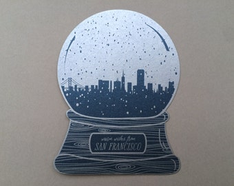 San Francisco snow globe, warm wishes
