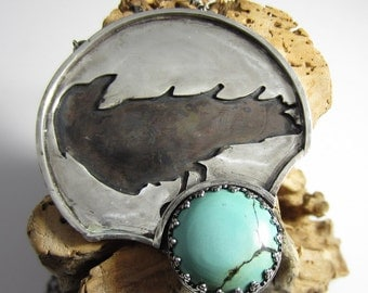 The Raven's Caw Necklace - Sterling Silver with Turquoise and Black Tourmaline