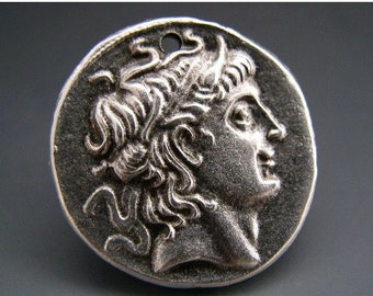 SALE Mykonos Greek Alexander The Great Pendant Lead Free Pewter Silver Color 28mm Naos