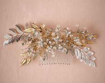 Bridal Comb Crystal Embellished Hair Slide Grecian Headpiece Bridal Headpiece Floral & Vine Headpiece