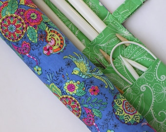 large knitting needle case - knitting needle organizer - birds and floral print- 36 pockets