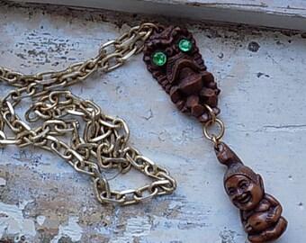 FREE SHIPPING Vintage Tiki Buddha Pendant Chain Necklace Rhinestone Accents