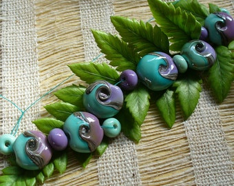 Lampwork SRA Handmade Beads by Catalinaglass Copper Green and Purple