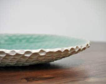 SALE - Robin's Egg Blue Ceramic Serving Platter - Extra Large Ceramic Serving Bowl Ceramic PLate Platter Wedding Gift
