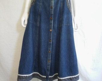 35% off SALE vintage 70s Jessicas Gunnies prairie skirt denim boho