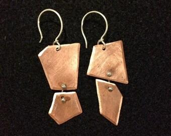 Asymmetric Copper Earrings