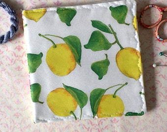 SALE! Lemons Needle Case Watercolor Fruit Fabric Pin Keep