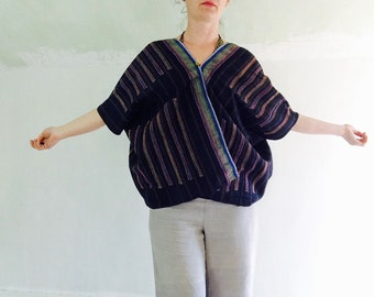 Vintage Hmong Hemp Linen Blouse. Huipil. Repurposed