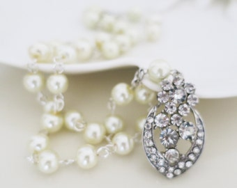 Pearl Wedding Necklace Bridesmaid Necklace Vintage Style Wedding Pearls necklace Bridesmaid Gifts Pearl Crystal Necklace Occasion Jewelry