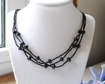 Black Beaded Necklace and Earring Set