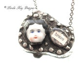 She is Brave Necklace Soldered China Doll Head Frozen Charlotte Pendant Lorelie Kay Original