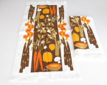 2 Vera Neumann kitchen towels, Vintage Vera Neumann, orange and brown, vegetable towel, veggies towel, terry cloth, mushrooms