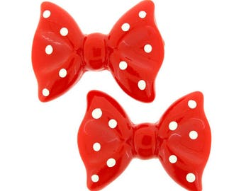 20 pieces - Ribbon Bow Resin Flatback in Red