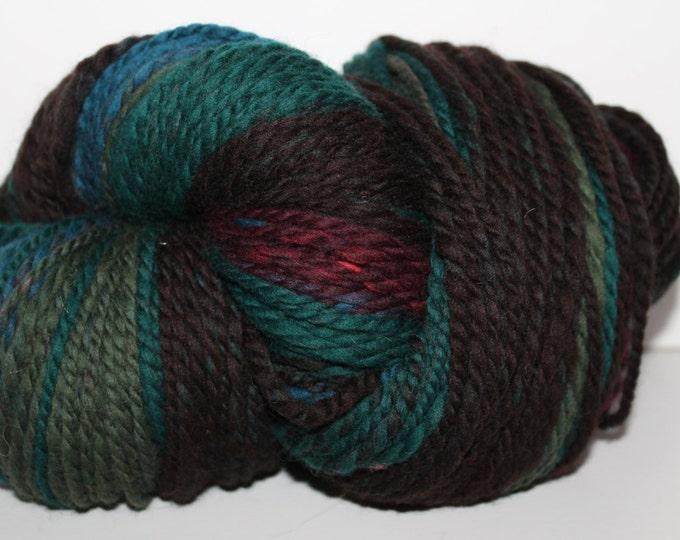 Handspun Merino Wool Yarn.  2ply Bulky Weight. Self Striping. Huge Skein. 9oz. 250 yards