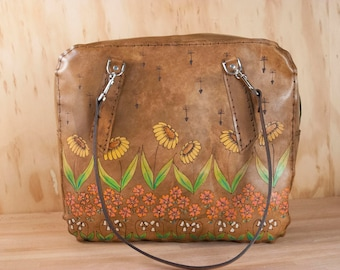 Leather Overnight Bag - Lightweight Large Purse or Travel Bag with Flowers in the Seeds Pattern - Antique brown leather with zip closure