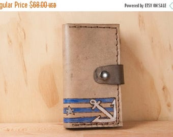 HALF OFF Leather iPhone 5 Case - Stu pattern with anchor and stars - white, blue, gray and antique black