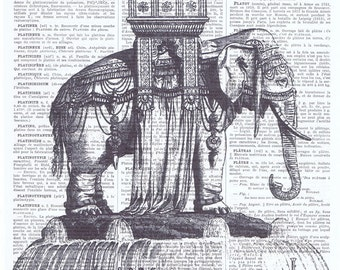 Elephant.African Animal.Book page print.Vintage.affordable home decor, antique, french. Special, buy 3 get 1 FREE.child.wall.eco