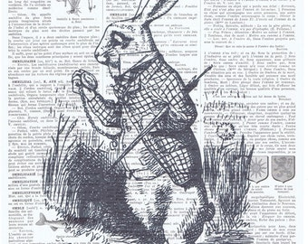 Alice in Wonderland,White Rabbit.Hare.Vintage French Book Page.art print,buy 3 get 1 FREE,deco.pocket watch.bunny.classic.mixed media.child