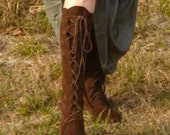 Handmade lace up knee high Moccasins Dark Brown with green vine of leaves up back and rubber soles