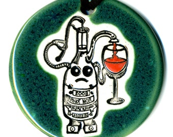 Wine Bot Ceramic Necklace In Spotted Green