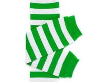 Green and White Baby Leg Warmers Mardi Gras  Christmas  St Patricks Day