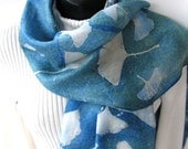 Unique Hand Dyed Silk Scarf for Women Eco Dyed Ginkgo Leaf Print Blue Green Gift for Her Gift for Mom Unique handmade gift Luxury gift idea