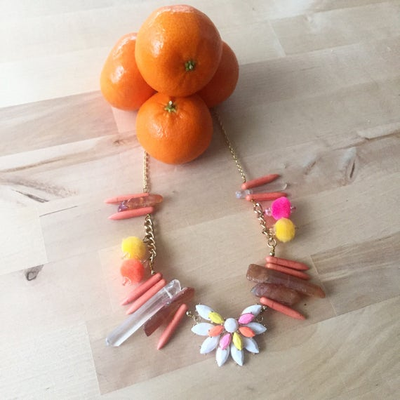 Frida Pink Orange and Yellow rhinestone, pom poms and quartz point statement necklace