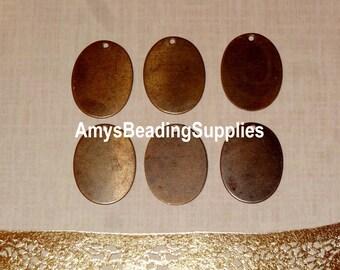 6 Vintaj Natural Brass 17x13mm Tiny Oval (DP129)