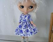 Blythe Doll Dress,  Blythe Dress. Elbow Sleeves, China Blue