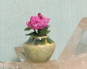 Miniature Porcelain Carved Vase with Dragonflies and Wild Rose in 1:12 Dollhouse Scale