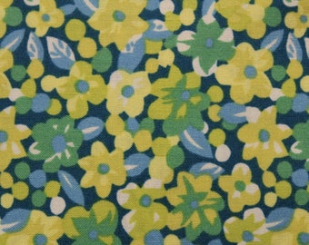 Floral Fabric, Cotton Fabric, Dear Stella, Fabric, Pattern STELLA-S362, Sewing Fabric , Quilting Fabric, Yellow Green and Blue, fabric shop