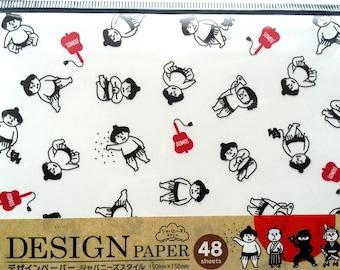 Japanese Paper - Origami Paper - 4 Patterns 48 Sheets 15 x 15 cm 5.9 x 5.9 inch - Sumo Wrestler - Samurai - Ninja - Kabuki