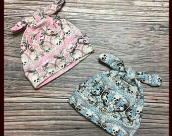 RockerByeBeanies Newborn Baby knit skull cap beanie cream black gray pink blue skull damask rose