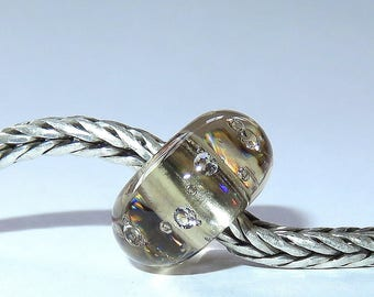 Luccicare Lampwork Bead - Champagne Diamonds - Lined with Sterling Silver
