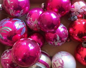 30 Pink and White Vintage Mercury Glass Ornaments - Tree Ornaments - Balls