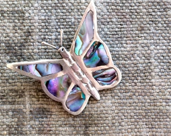 1960s Mexico Butterfly Pin - Silver and Abalone Pin- Vintage Jewelry