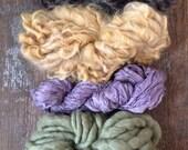 Four skeins all natural color Handspun mini skeins texture pack yarn 40 yards handspun lot set