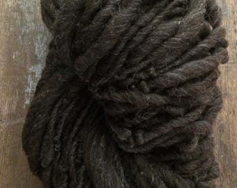 Mocha natural yarn, undyed handspun yarn, bulky weight single ply, 76 yards, chunky wool yarn, neutral handspun yarn, brown handspun yarn