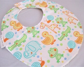 Boutique Bib for Baby or Toddler Boy or Girl - Hop On Over Ducks Frogs Giraffe Elephant - Neutral - Cotton Bib with velcro closure