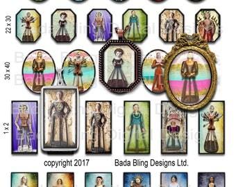Antique Cage Dolls & Santos, jewelry sampler, INSTANT Digital Download at Checkout,1 x 2, 30x 40,22 x 30 images shrines, antique Santos