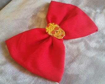 Rhinestone Sparkly Sugar Skull Red Hair Bow