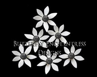 Flower Headpiece, Wedding White Ivory Flowers, Flower Hair Wedding, Set of Twelve Isla Mini Star Flower Hair Pins with Black Pearl Centers