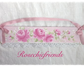 Plaque Sign Shabby Chic Hand Painted Pink Roses ECS sct schteam SVFTeam