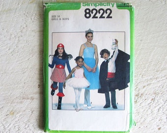 SAVE 31% - Vintage Uncut Simplicity 8222 Halloween Costume Pattern - Clown - Size 14 Girls and Boys