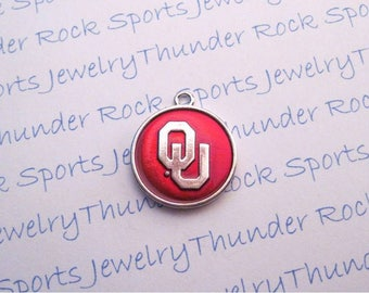 3 OKLAHOMA SOONERS Charms round Antique Silver Plated with crimson red enamel University OU logo College Pendants